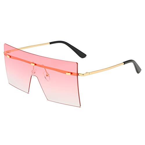 SCAYK 2021 Unisex Fashion Oversized Big Gafas de Sol Mujeres Famoso Diseño de Moda One Piece Gafas de Sol Hombres Hombres Máscara Gafas de Sol UV400 Gafas de Ojo Moda (Lenses Color : Pink)