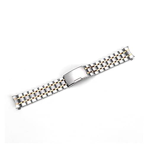 YYAN 18 mm 20 mm 22 mm 2 Tonos Oro Banda Correa Pulsera Apto for Rolex Seiko5 Omega Tissot Watch (Band Color : 2 Tone Gold)