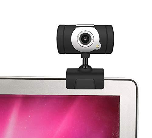 Webcam ad Alta Definizione Regolabile a 360 Gradi con Microfono Incorporato per la riduzione del Rumore Digitale per PC Laptop PC Skype, Nero