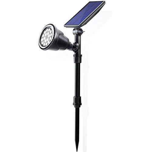 TEQStone Solar Spot Lights Outdoor Dusk to Dawn, Solar Landscape Lights, 18 LEDs 300/150 Lumen, IP65 Waterprrof, Auto On/Off, 2 Ways to Install Spotlights for Garden, Pathway and Yard