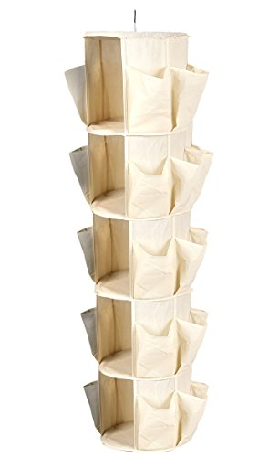 Sorbus 5-Tier Carousel Closet Organizer - Comfortably Organizes Shoes, Sandals, Heels, Clothes, Belts, Scarves, Ties, and More - 360° Swivel Hook for Easy Access to All Items