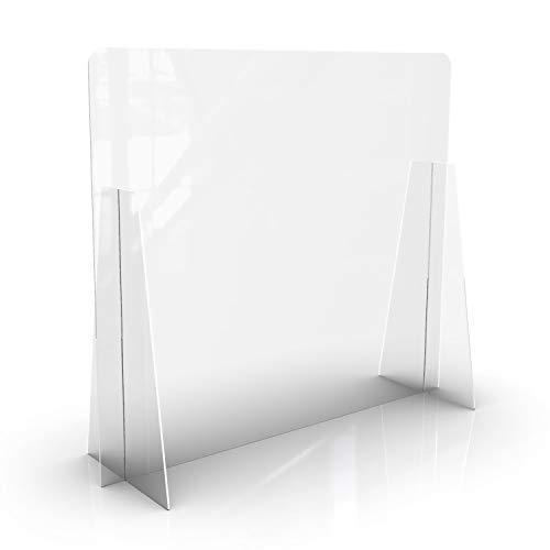 KLEMP Spuckschutz aus Plexiglas Schutzwand Thekenaufsatz - Trennwand für den Schreibtisch – Plexiglas Wandschutz – Spuckschutz für Gastronomie (75x65 cm)