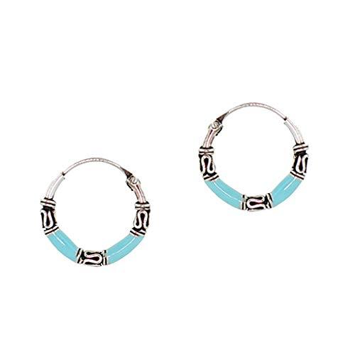 Tata Gisèle - Pendientes de aro de Bali de plata 925/000 rodiada – Esmalte azul – Bolsa de terciopelo de regalo