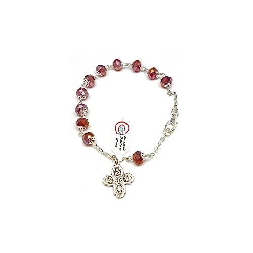 DELL'ARTE Artículos religiosos, pulsera rosario de cristal borealizado, 8 x 6 m, con copas, color rojo