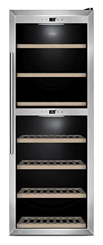CASO WineComfort 126 Design Weinkühlschrank für bis zu 126 Flaschen (bis zu 310 mm Höhe), zwei Temperaturzonen 5-20°C, Getränkekühlschrank, Energieklasse B