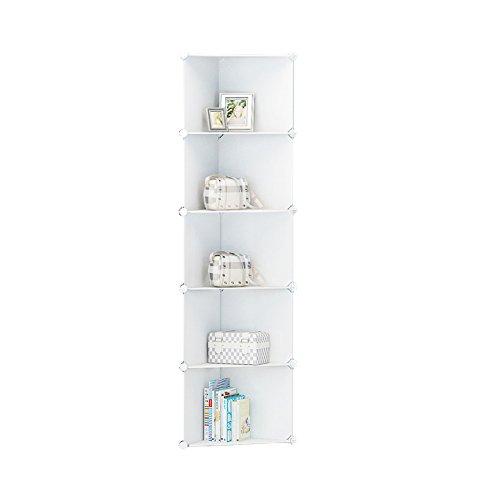 ETTBJA DIY Plastik Kleiderschrank Portable weiß Geschweiften Muster Schrank Lagerung-Design Ihre Eigene (5 Tier)
