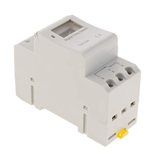 MagiDeal Temporizador de Energía LCD Digital de Interruptor de Tiempo Programable Riel DIN AC220-240V