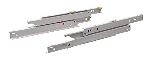 Gedotec Schubladenschienen Vollauszug 600 mm Rollschubführung für Schubladen zum nachrüsten | Küchen-Auszugsschiene mit 40 kg Tragkraft | Möbelbeschläge | 1 Paar - Auszüge weiß für Holz-Schubkästen