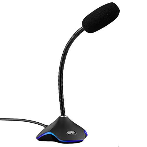 ZNBJJWCP Micrófono USB con luz LED para PC ordenador portátil escritorio Gaming chat reducción de ruido micrófono