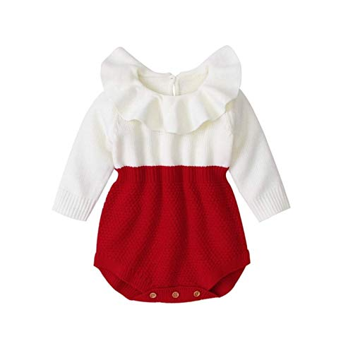 Newborn Baby Girl Clothing Rompers Wool Knitting Tops Long Sleeve Romper Warm Outfits Clothes Baby Girls,Red,6M