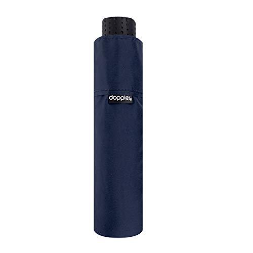 doppler Taschenschirm Fiber Havanna Uni – Extrem leicht – Kompakte Größe – 22 cm – Blau
