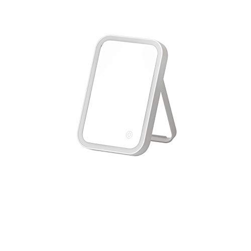 Make-up spiegel, wit, LED, HD, spiegel, om op te laden, gemakkelijk te vervoeren, 22 x 15 cm