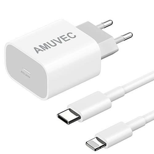 Amuvec Cargador USB C 20 W, PD 3.0 Carga Rápida Cargador Tipo C Adaptador con Cable 1M, Cargador Móvil para iPhone 12/12 Pro/ 12 Mini/ 12 Pro MAX/ 11, Samsung, Google Pixel, Pad Pro, AirPods Pro