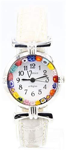 Orologio Watch Donna Pelle Beige Vetro di Murano Murrina Millefiori Italy