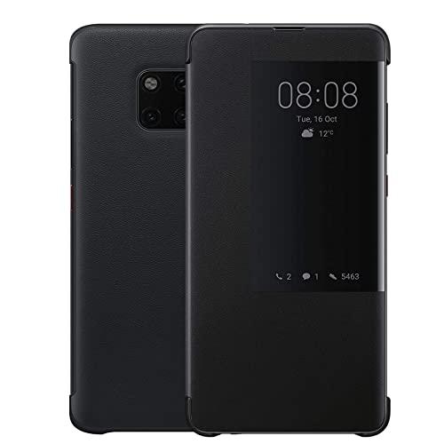 Handyhülle für Huawei Mate 20 Pro, Luxus PU Leder, Zum Aufklappen, Verhindert Fallenlassen & Praktische, Intelligente Fensteröffnung, Mate20 Pro Superdünne Flip Schutzhülle(Mate20Pro,Schwarz)