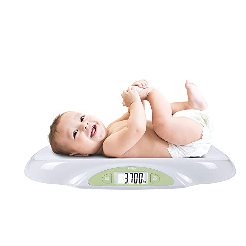 Bascula para Bebés y Mascotas. Balanza digital con pantalla LCD Retro iluminada. Para bebes recién nacidos. Función ZERO y TARA precisión de 5 gramos Pilas Incluidas Capacidad 25Kg Modelo BA10