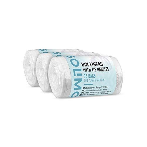 Marca Amazon - Solimo Bolsas de basura con asas - 10 litros - 3 x 75 uds.