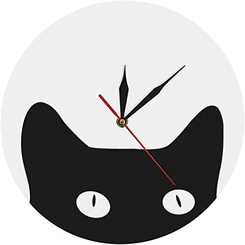 NIUMM Wanduhr Spähen Katze Cuties Und Kinderzimmer Tier Wanduhr Lustige Verrückte Katze Lady Wanduhr Freche Kätzchen Dekorative Wand Silent Einfach Zu Lesen