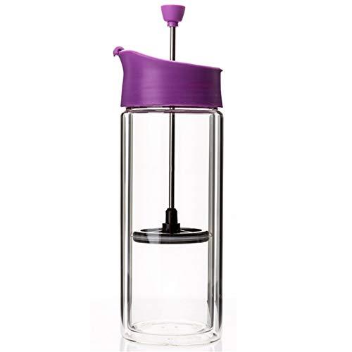 Nvshiyk Französische Presse Kaffeemaschine Doppel-Glasbüro Haushalt Filtern Tasse oder Becher Tee Brewing Kaffeekanne Einfach zu verwenden (Farbe : Lila, Size : 22x7.8cm)