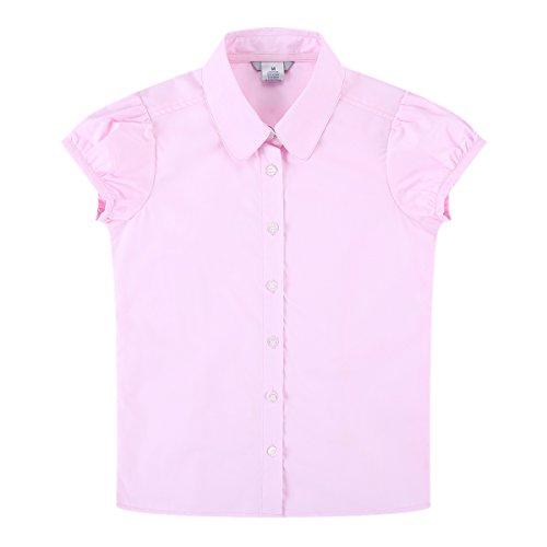 Bienzoe Mädchen Schuluniformen Oxford Blusen Rosa L