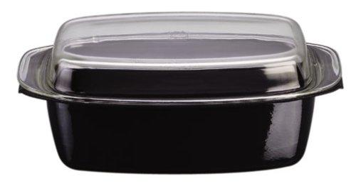 Silit Professional Bräter mit Glasdeckel, 39 x 22 x 15 cm, Silargan Funktionskeramik, induktionsgeeignet, spülmaschinenegeeignet, backofenfest, schwarz, 5,3 l