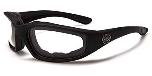 Choppers Night Driving Riding Padded Motorcycle Glasses 011 Black Frame with Yellow Lenses (Black -...