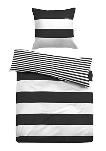 TOM TAILOR 0049769 Bettwäsche Garnitur mit Kopfkissenbezug Linon 1x 135x200 cm + 1x 80x80 cm, black