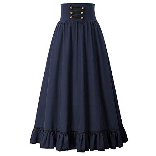 N\P Falda de las mujeres Ropa de verano Falda larga cintura alta volantes dobladillo una línea de la falda de las señoras