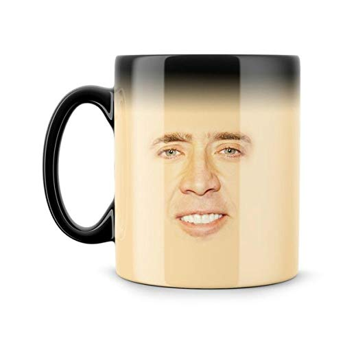 11oz Coffee Cup Ceramic Novelty Magic Nicolas Cage Creepy Face Meme Funny Geek Nerd Color Changing Nicolas Cage Fan Gift Nic Cage Secret Santa Creepy Gift Present Cup 1pc 11oz Funny Present