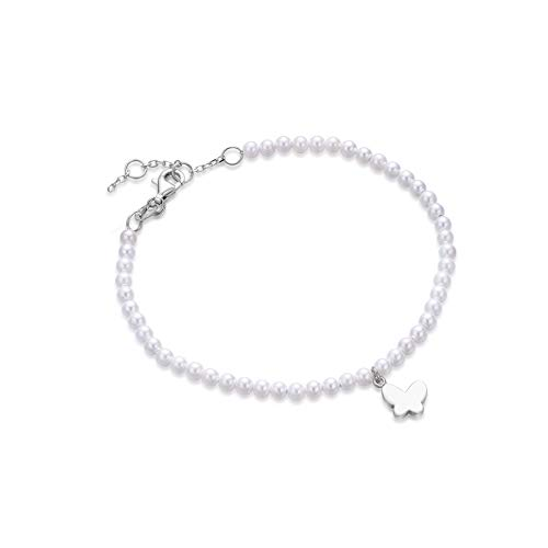 Coodilor 925 Sterling Silver Simple Bridal White Freshwater Cultured Pearl Butterfly Charm Hand Bracelet Wedding Gift for Women Fiancee