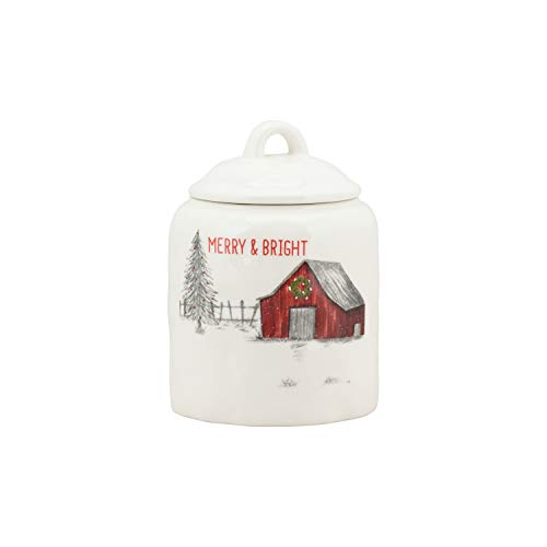 10 Strawberry Street Winter Wonderland Merry & Bright Barn Small Christmas Canister, One Size, White