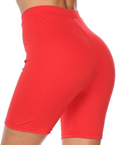 Chaos World Femme Court Leggings Short de Sport Taille Haute Yoga Fitness Shorts(Rouge,M)