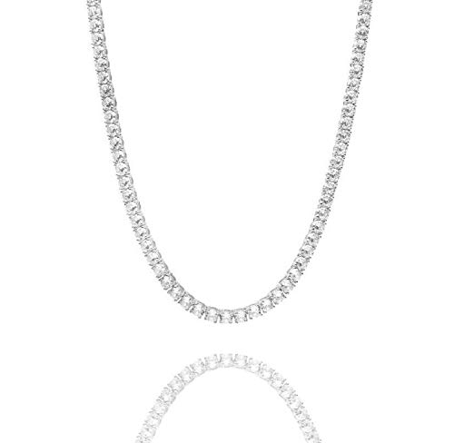 The Bloq Ventr UK 6MM 18'/20'/22' Diamond Tennis Chain Necklace Silver Gold Polished Steel CZ Link Womens Choker Mens Chains (Silver, 20)