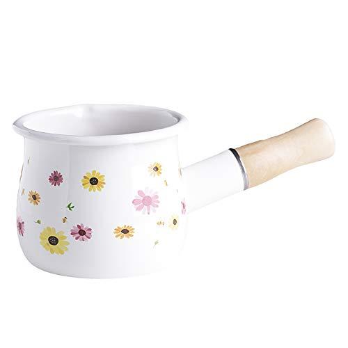 freneci Padella per Latte Antiaderente Burro Scalda caffè Pentola Piccola Pentola da Cucina 550ml - Fiore