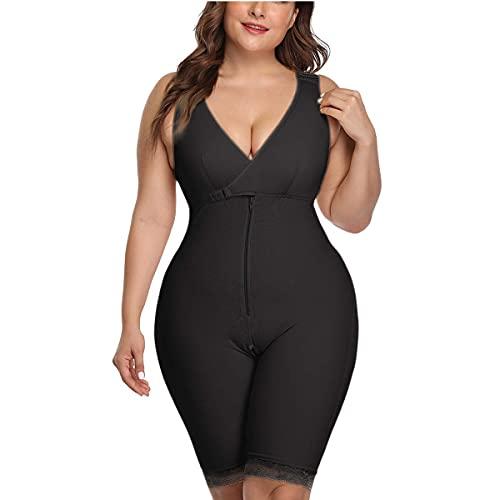 Whlucky Talla Extra Mujeres Cintura Trainer Mono Fajas Cuerpo Completo Delgado Control Panza Respirable Moldeadores,Black,m