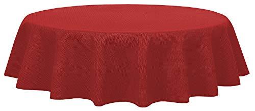 Brandsseller - Gartentischdecke geschäumt - wetterfeste und rutschfeste Tischdecke für Garten Balkon und Camping (Rund 140 cm, Rot)