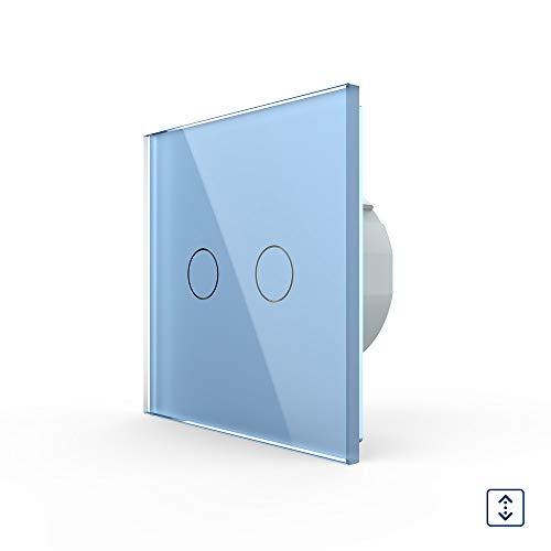 LIVOLO rolluikschakelaar Touch VL-C702W-19 blauw bont 2-weg rolluiken lichtschakelaar licht schakelaar wandschakelaar een vak hoog omlaag glazen frame glas paneel