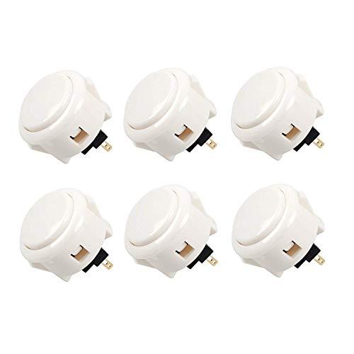 Juego de 6 Botones Sanwa de Color Blanco OBSF-30-W