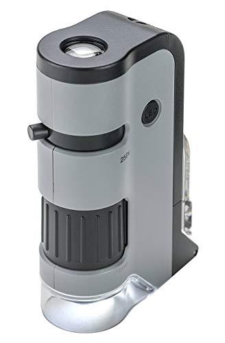 Microscópio de Bolso Carson MicroFlip 100x-250x c/LED, lanterna UV, base deslizante e clip para Smartphone, Cinza, Pequeno