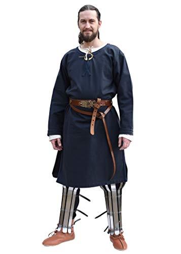 Battle-Merchant Mittelalter Tunika Albrecht mit Borte, langarm aus Baumwolle - Rot o. Blau - S - XXL - Wikinger LARP Kleidung Kostüm Hemd Herren (L, Dunkelblau)