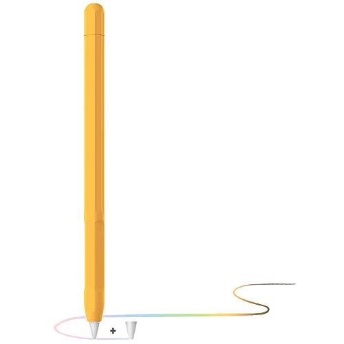 YINVA Apple Pencil Hülle Apple Pencil Case, Silikon Schön Weicher Stift Grip Griff mit Ladekappe Kappe und Pen Nib Spitze Schutzhülle (2. Generation, Gelb)