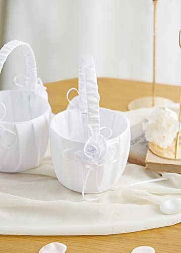 ATAILOVE 2 Pcs Flower Girl Basket Set- 3 Flowers Romantic Design Wedding Flower Baskets (White) Idaho