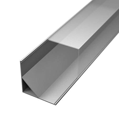 PALA16 Eckprofil Aluminium eloxiert | L - 2m x B - 1,6cm x H - 1,6cm | transparent klar | Alu Kanal für LED Streifen | inkl. Montageclips + Endkappen | Aluprofil für Stripes bis 10mm Breite