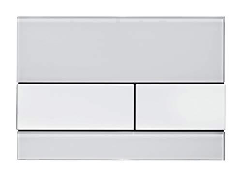 TECE Square WC Betätigungsplatte Glas weiß, Tasten Edelstahl gebürstet 9240801