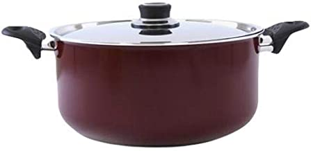 Royalford 26 cm Aluminum Cooking Pot with Lid, Red