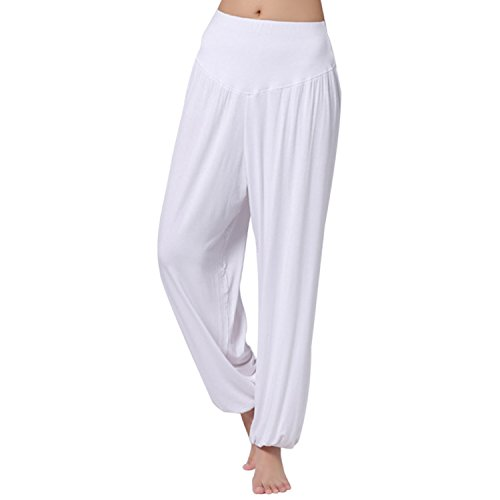 JLTPH Mujer Pantalones de Yoga Anchos Sólido Color Largos Baggy Pantalones Elásticos Fitness Algodón Modal Harem Danza Deportivo Pantalón Polainas