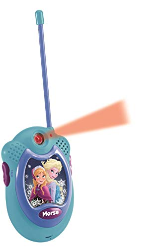 LEXIBOOK- Disney Frozen Elsa Walkie-talkies, Pinza para Colgar del cinturón, batería, Azul