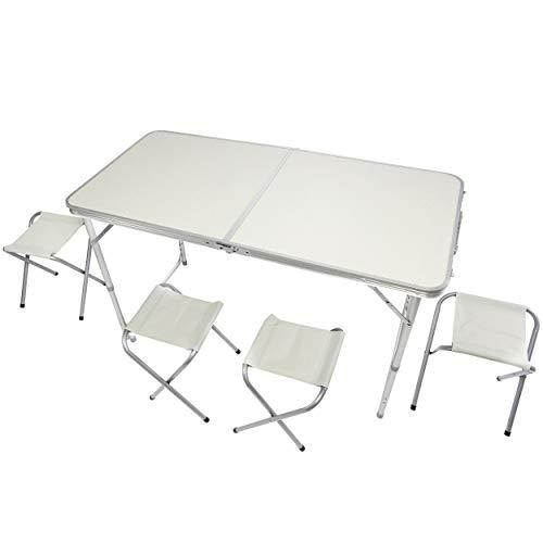 GOODS+GADGETS Klappbarer Multifunktionstisch Mehrzwecktisch Campingtisch Klapptisch Markttisch höhenverstellbarer Tapeziertisch Beistelltisch zum Campen (Camping Set mit 4 Stühlen - Weiß)