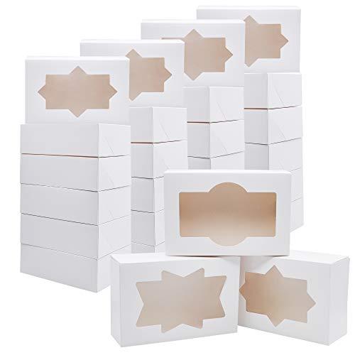 Juego de 24 cajas de papel de panadería con ventana, color blanco, talla única