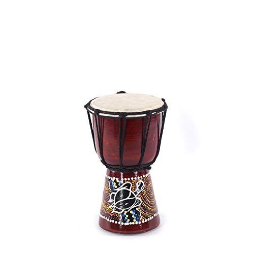 DESIGN DELIGHTS HOLZTROMMEL Djembe 20 | ~20x12cm (HxØ), Mahagonigholz, Ziegenleder | afrikanisches Musikinstrument, Trommel mit Bemalung